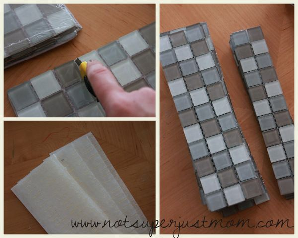How To Mosaic Tile A Mirror DIY, From Not Super Just Mom. Tile Mirror FramesMosaic  MirrorsBathroom ...