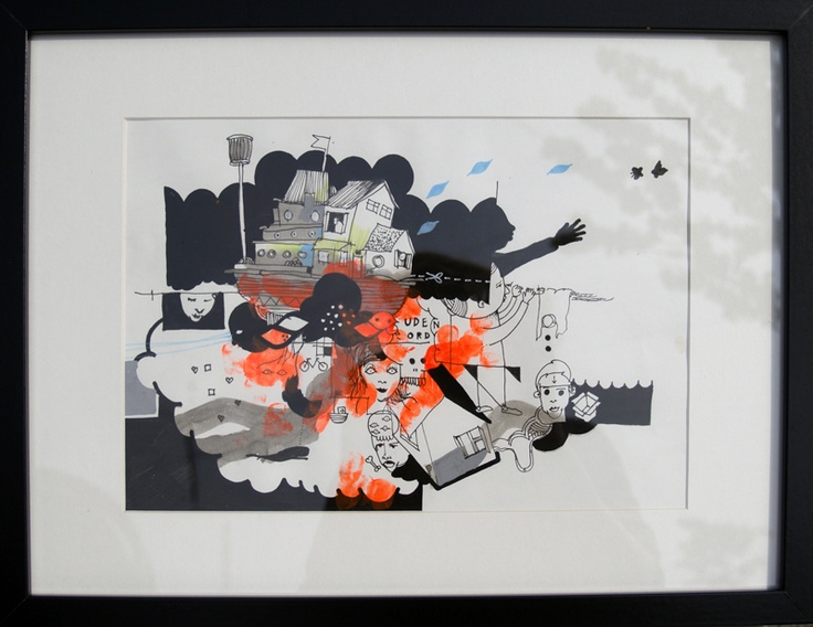 """Artist Simon Fensholm. """"Uden ord"""" (""""Without words""""), A2.  Markers and acrylics on paper."""