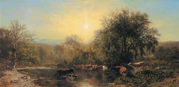 Artwork by James McDougal Hart, Cows Watering, Made of oil on canvas
