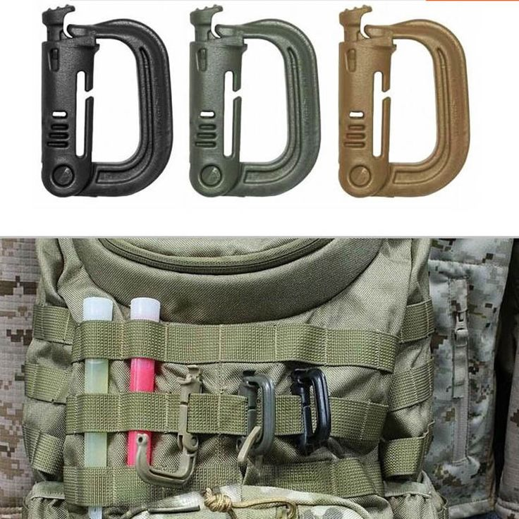 """Brand new and high quality High strength, light weight plastic carabiner. Can be attached to any 1"""" molle webbing for adding lanyards or other accessories. The D-ring is strong enough to carry almost"""