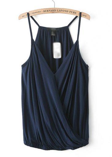V Neck Fold Design Strappy Vest - USD $16.66