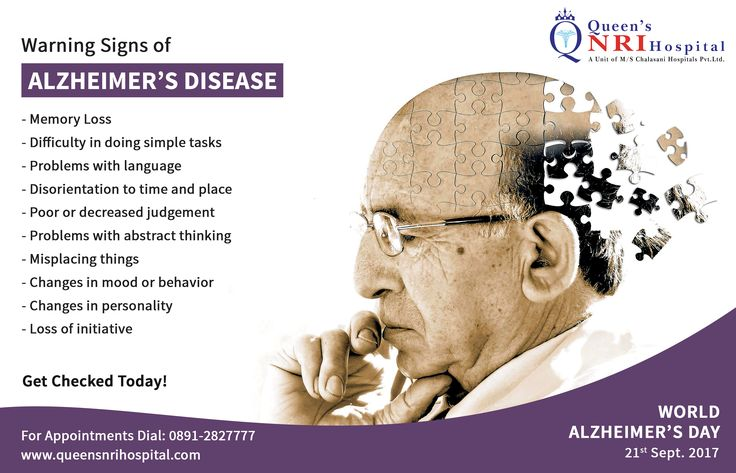 WORLD ALZHEIMER'S DAY 2017. Warning Signs of ALZHEIMER'S Disease. Get Checked Today.  For appointments dial: 0891-2827777 || visit: www.queensnrihospital.com