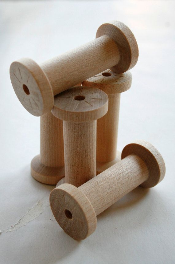 Large Wooden Spools  set of 60  Natural Wood Thread by InTheClear, $58.70
