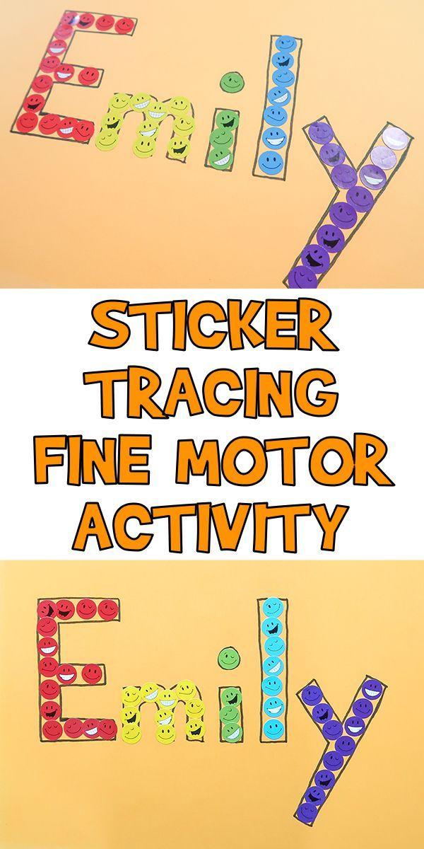 Sticker Tracing Fine Motor Activity Woo Jr Kids Activities Motor Skills Preschool Name Activities Preschool Preschool Fine Motor