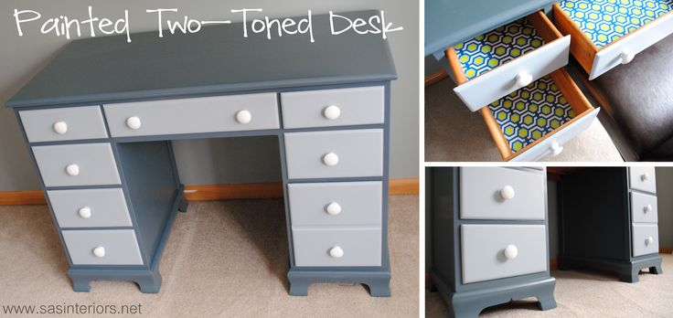 Painted Two Toned Desk by @jenna_burger for www.sasinteriors.net