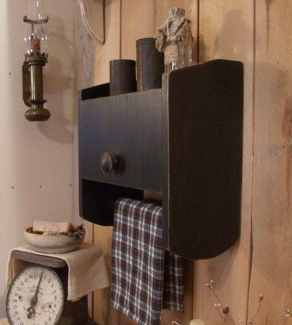 Primitive Bathroom Cabinet Towel Rack Toilet Paper Storage Original Design Color Choice