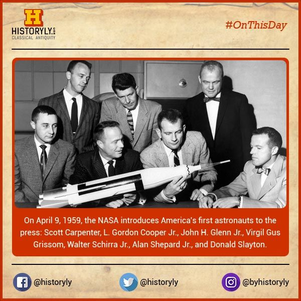 #OnThisDay  1959 First astronauts introduced.  #History #Science #NASA #Space