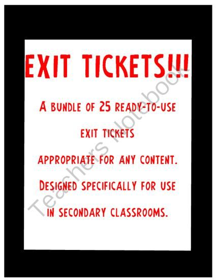 Exit Ticket Variety Pack for Middle School from K and C's  Shop on TeachersNotebook.com -  (28 pages)  - Exit tickets are a great way to assess what students have learned during the day�s lesson.