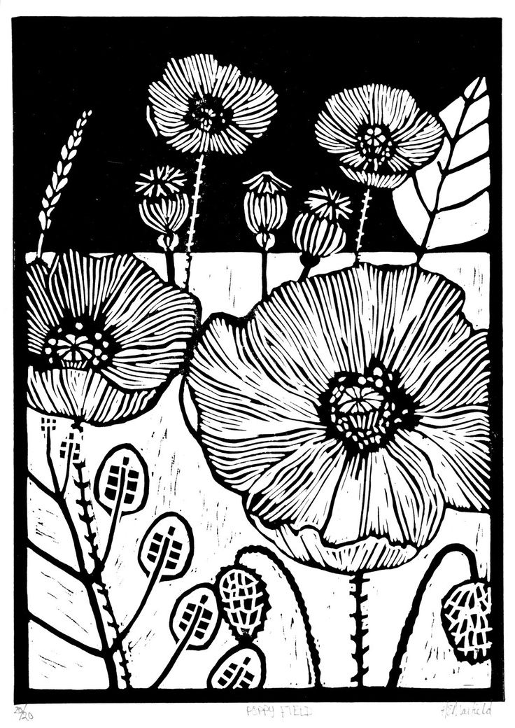 The lines and contrast. Poppy Field. by Helen Maxfield - linocut - lino print...