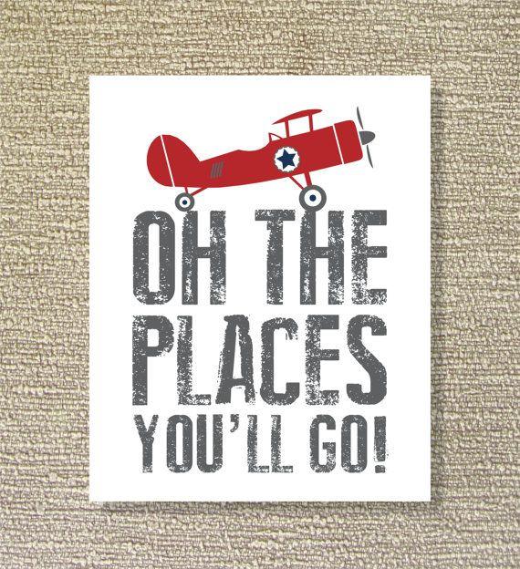 Vintage Airplane Printable Wall Art Places by FieldandFlower