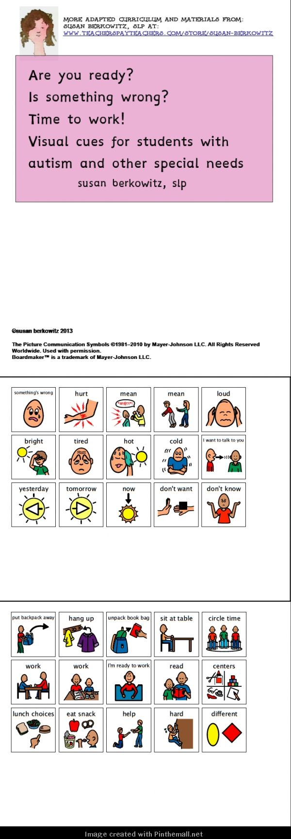 Visual cues for morning routine, ready to work, and finding out what's wrong.http://www.teacherspayteachers.com/Product/Visual-cues-get-ready-tell-whats-wrong-_-autism-_other-special-education-966690: $ - created via http://pinthemall.net