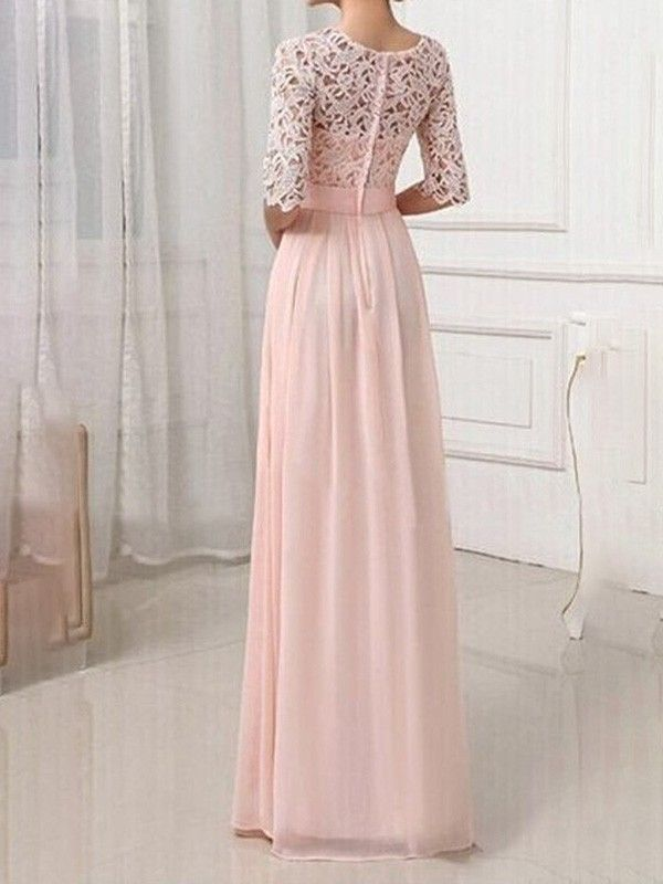 blush pink patchwork lace pleated half sleeve chiffon maxi