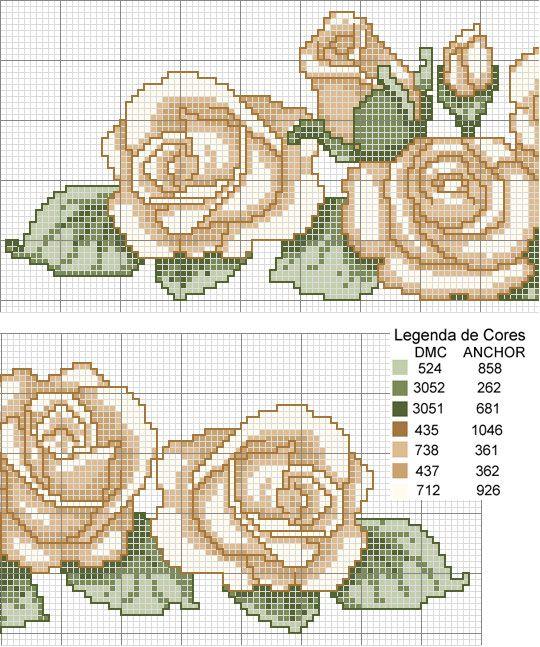 Ricami, lavori e schemi a puntocroce gratuiti: Schemi a punto croce con tema le rose rosa e gialle