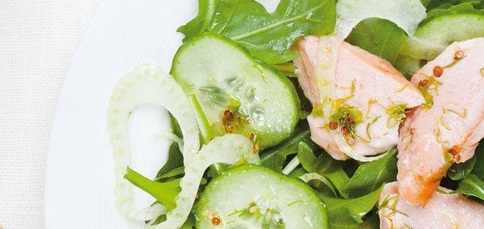 Salade de saumon froid, concombre et fenouil à l'aneth/Ricardo