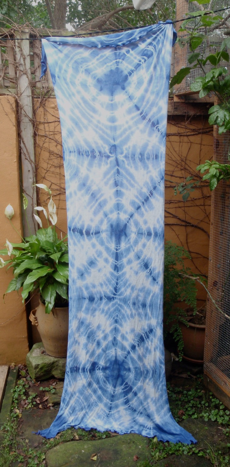 Blue & White Scarf - Wrap -  Fabric Length Hand Tie Dyed in the Shibori Style from soft rayon. $69.00, via Etsy.
