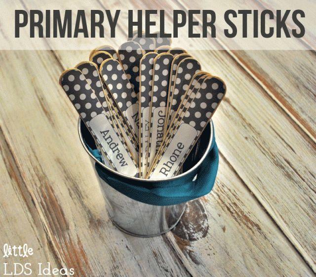 LDS Primary Helper Sticks from Little LDS IdeasLittle LDS Ideas