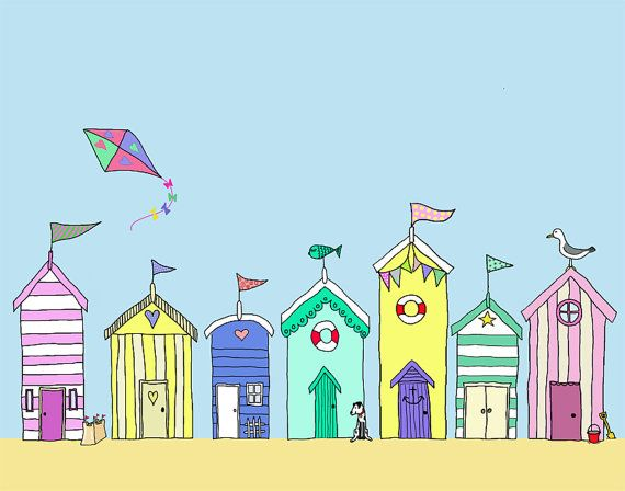 Beach Huts in a Row 8X10 Art Print Illustration Poster Acrylic Painting Giclee Wall Decor Wall hanging Wall Art Beach Shed on Etsy, £15.82