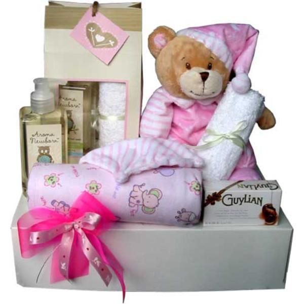 Aroma Newborn Baby Gift - Welcome a new baby girl with the finest selection of baby products all beautifully gift wrapped in a glossy box with a soft coloured bow. AU$126.00 with Free Delivery* from Red Wrappings