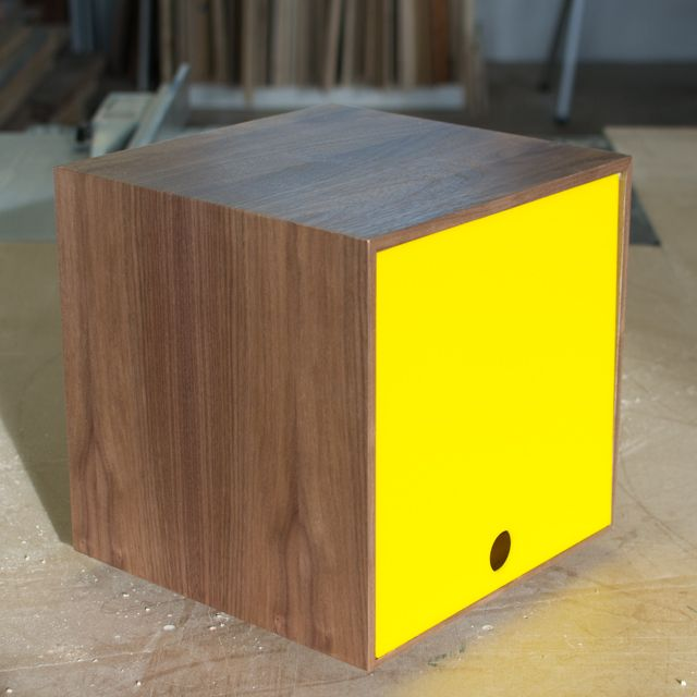 storage cube great for vinyl lps u0026 book storage in yellow walnut