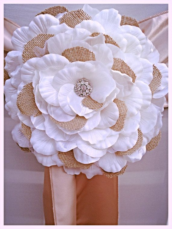 Burlap Flower with Ivory Petals and by LovelyLaceDesigns on Etsy, $35.95