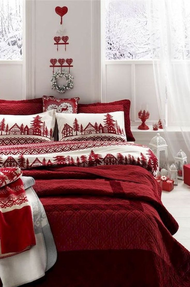 Christmas 2020 Bedding 35+ Free Best Interior Theme Christmas Bedroom Decoration Ideas