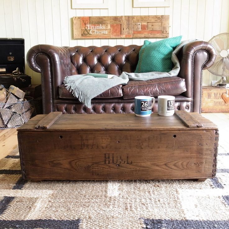 INDUSTRIAL Vintage RUSTIC Country WOOD Plank CHEST Box TV