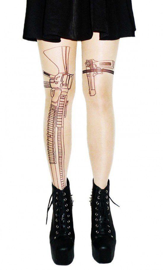 Gun Tattoo Tights   Skinny Bitch Apparel, Clothing for Urban Trendsetters.