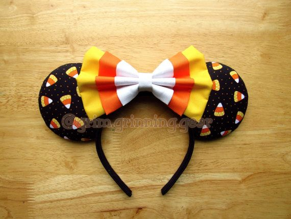 Halloween Minnie Mouse Ears Candy Corn Mouse by GrimGrinningGear