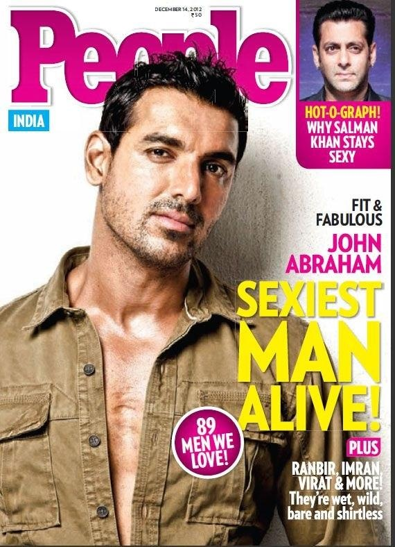 Beats the hell outta Channing Tatum! John Abraham on the cover of People magazine (India).
