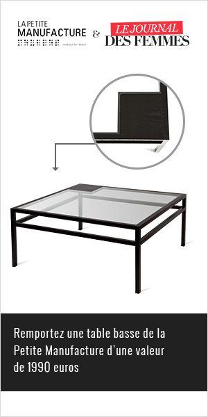 Qui rêve d'une belle table basse La Petite Manufacture d'une valeur de 1990€?  http://www.addictsauxconcours.com/t5599-0910-journal-des-femmes-1-table-la-petite-manufacture-1990eur-a-gagner-dlp-17-11-2014  Bonne chance les addicts!  Arlène