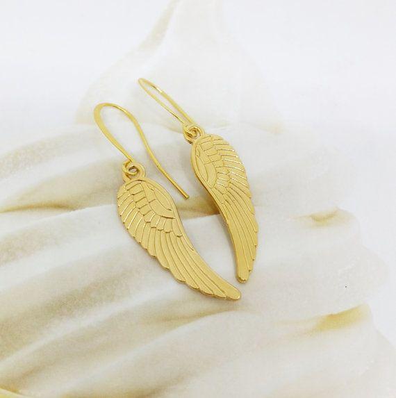 Angel wings earrings Gold angle wings by SimplyBlueJewelry on Etsy