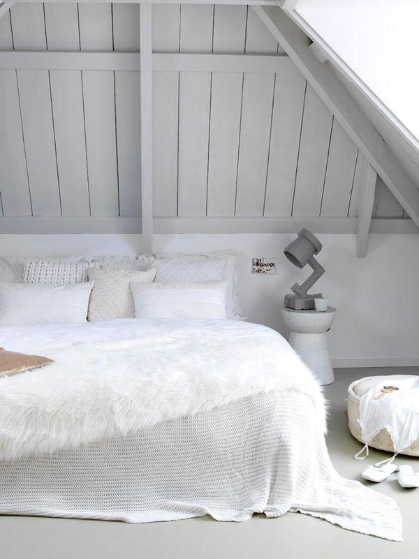 simple white attic bedroom