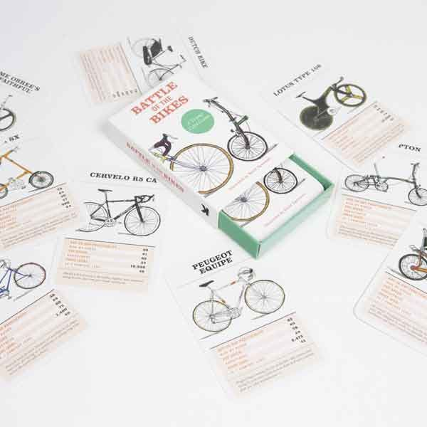 Fixie or Brompton – Pinarello racer or Mongoose BMX – which is the fastest? The most expensive? How about their ride-by kudos, or their crash survival rate? These playing cards allow bike lovers of all ages to play iconic makes and models off against each other to discover who's got the best set of wheels