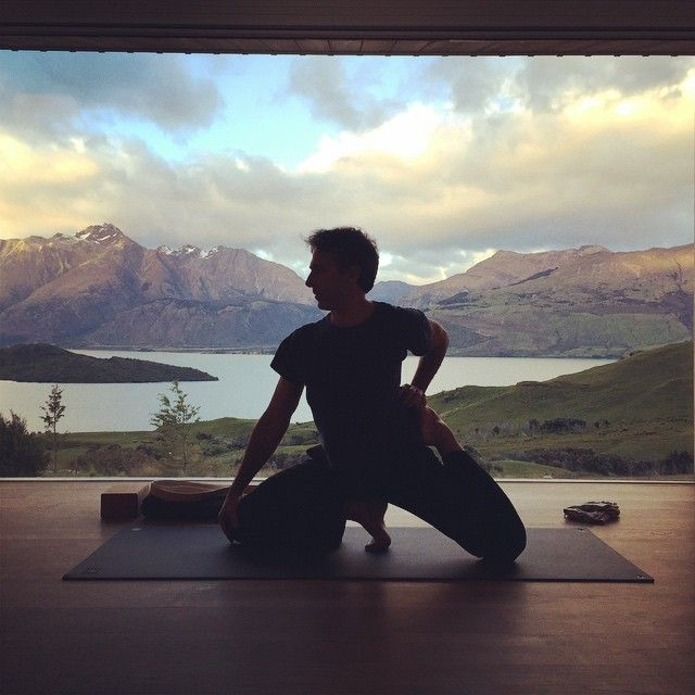The approachable and playful, Peter Sterios, prepares to deliver his fresh take on Hatha yoga this morning.