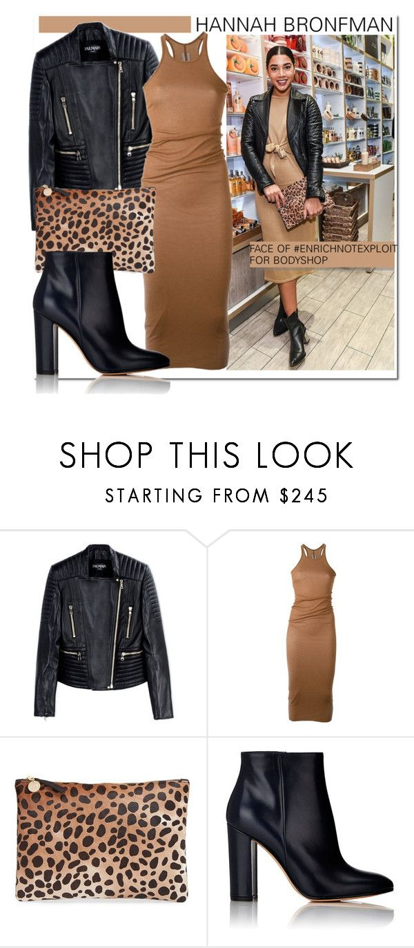 """""""Hannah Bronfman..."""" by nfabjoy ❤ liked on Polyvore featuring The Body Shop, Balmain, Rick Owens, Clare V., Gianvito Rossi, hannahbronfman and EnrichNoptExploit"""