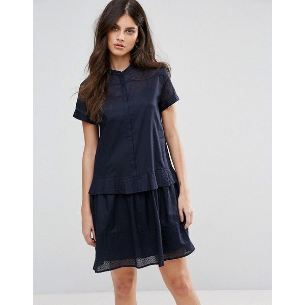 MAX&Co Delia Shirt Dress (310 AUD) ❤ liked on Polyvore featuring dresses, blue, collared shirt dress, embroidered dress, stripe dresses, short sleeve dress and striped dresses