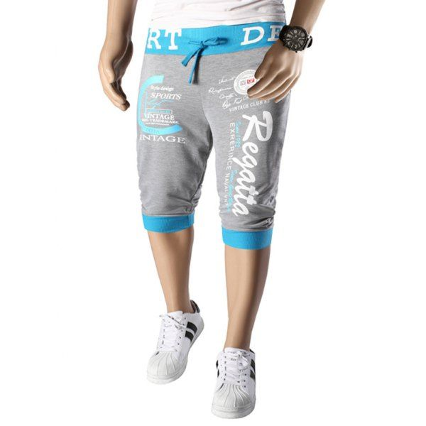 Color Splicing Letters Pattern Beam Feet Lace-Up Men's Capri Pants #CLICK! #clothing, #shoes, #jewelry, #women, #men, #hats, #watches