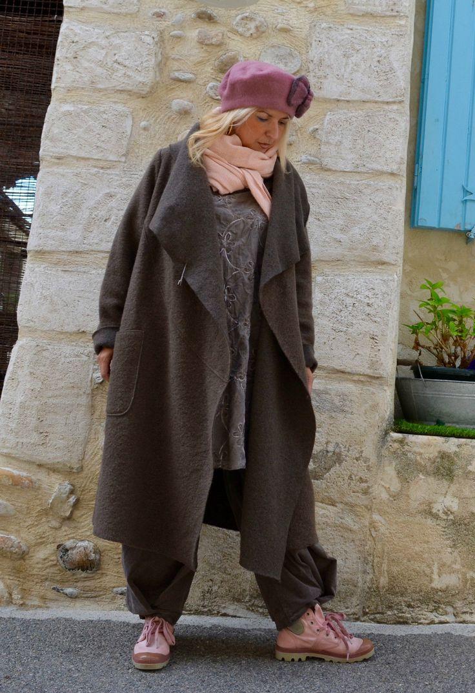 Manteau Laine Bouillie Taupe Ample Long Oversize Romantique Shabby Bohème | eBay