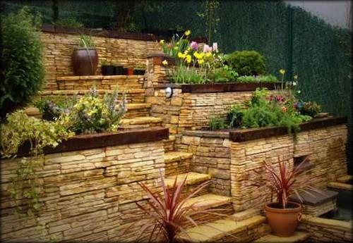 Jardineras de piedra laja bonitas jardinera pinterest etiquetas - Imagenes de jardineras ...