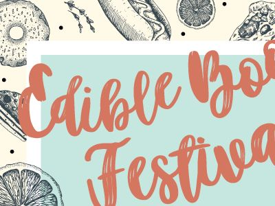 Edible Book Festival | detail:   A quick detail of the proposed poster for the 2018 Edible Book Festival.