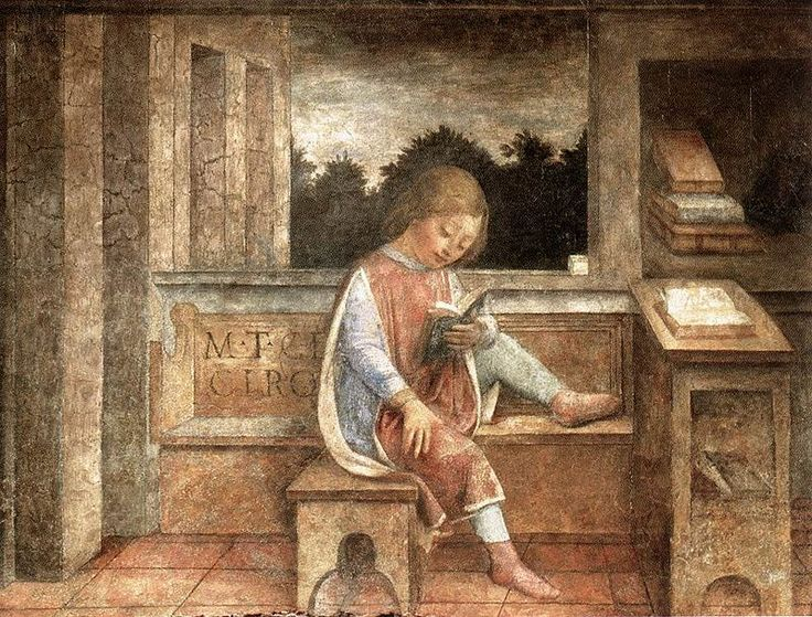 The Young Cicero Reading.  My favourite thing in the Wallace Collection - a fresco by Vincenzo Foppa. It was painted in the 1460s for the Medici. Cicero was crucial for the Italian humanists. Philip Weaver.