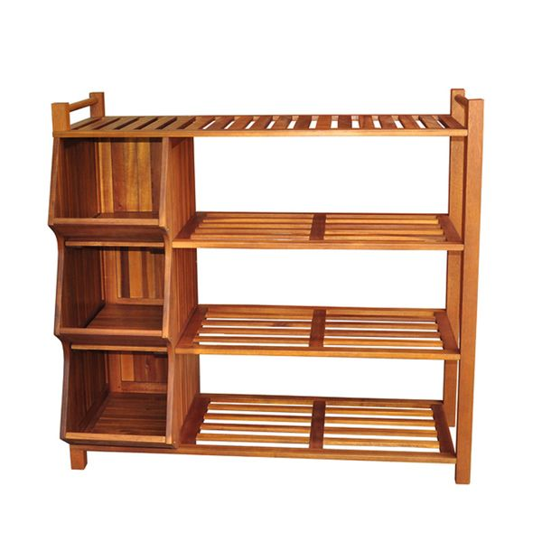 Merry Products Outdoor 4 Tier Shoe Rack Cubby Brown Wood Storage And
