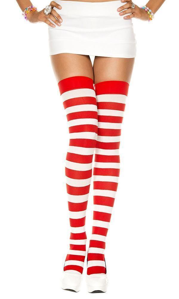 2124b152e Music Legs - Opaque Wide Stripe White Red Thigh High