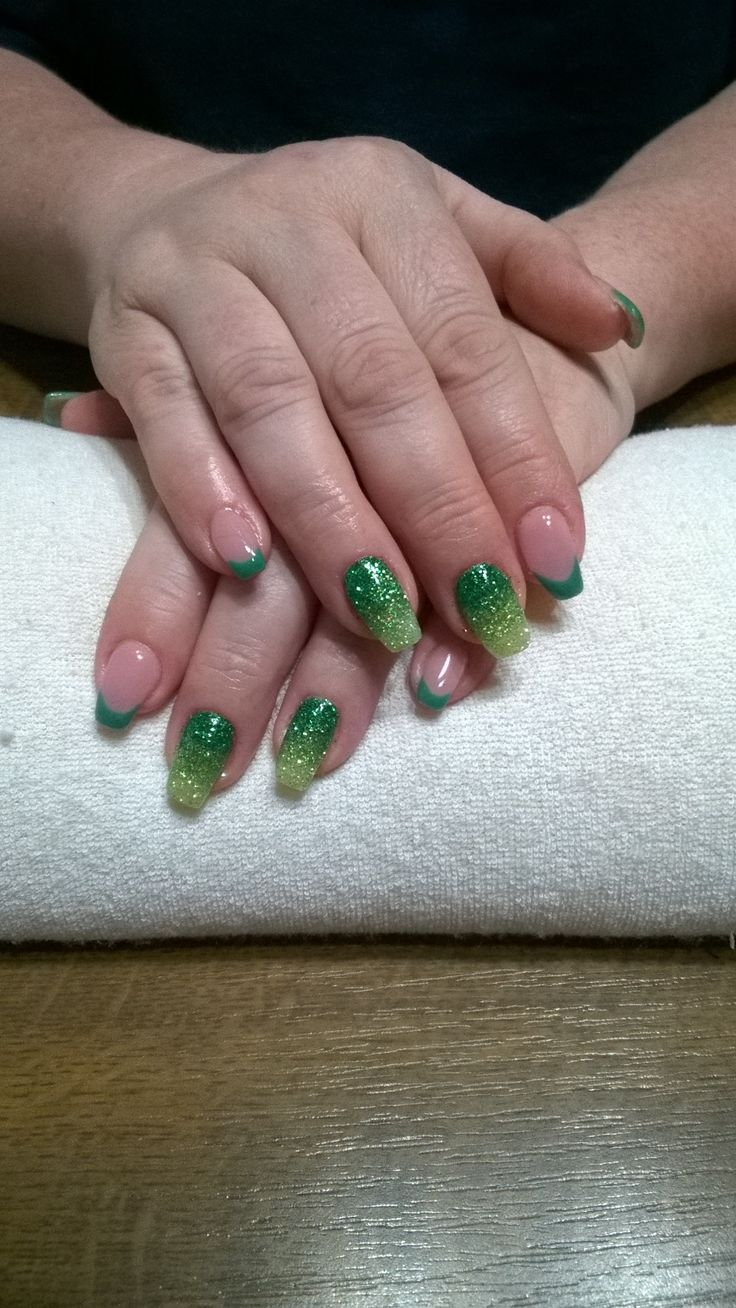 green french manicure, green glitters