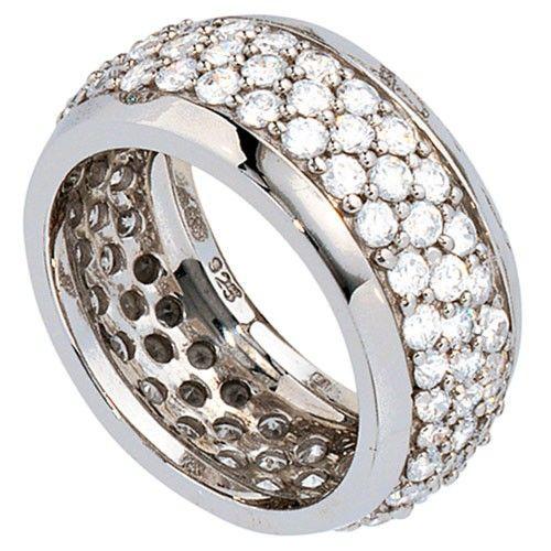 Breiter Ring mit Zirkonia rundum 925 Silber