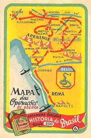 Map illustrating the military operations of the Brazilian Expeditionary Force (FEB) on Italy