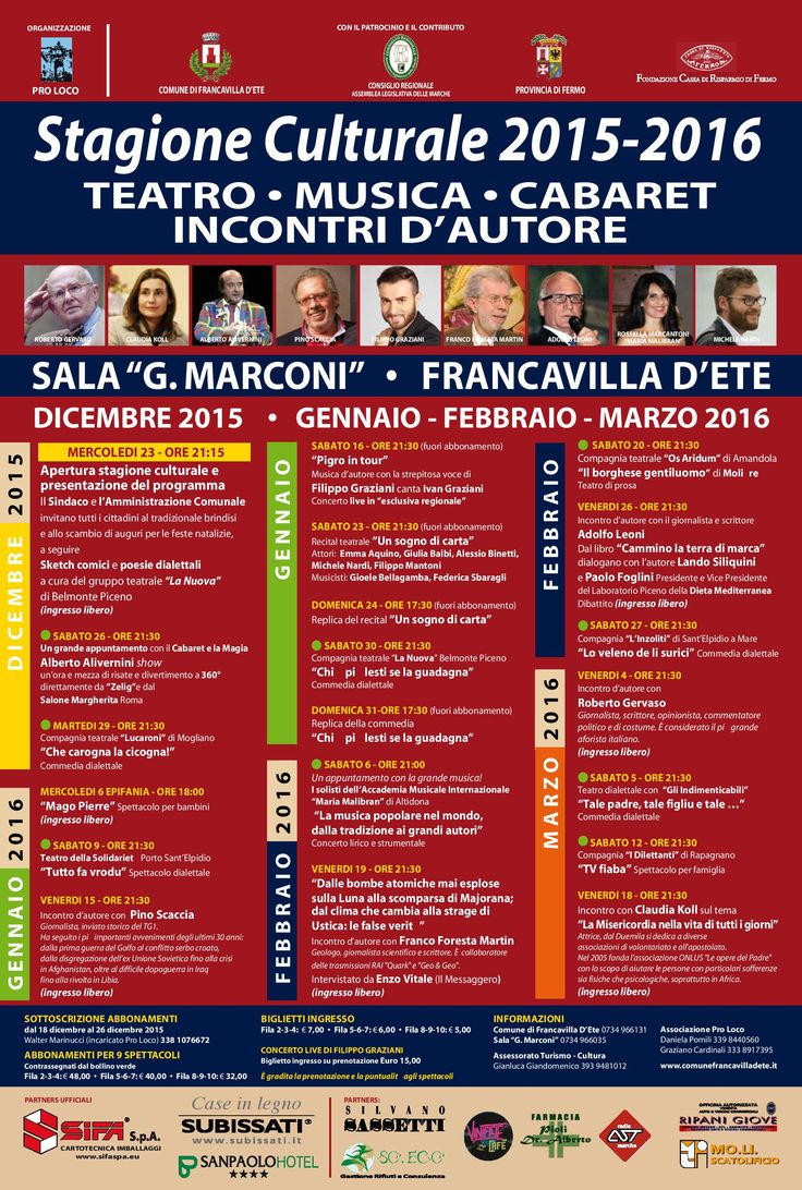 Sabato 16 Gennaio  PIgro in Tour  Sala G. Marconi -Francavilla d'Ete- ore 21,30