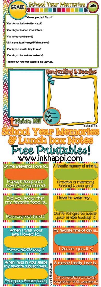 Printable School Memories and Lunchbox Notes | TodaysCreativeBlog.net