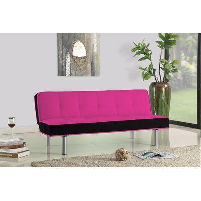 Orren Ellis Corbiere Sleeper Sofa Upholstery: Pink/Black   Pinterest ...