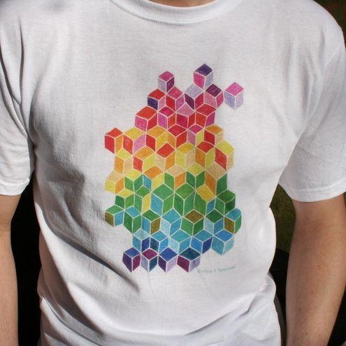 Rainbow colour cubes design T-shirt geometric pattern £12.00 from Alicia Yolanda's Shop